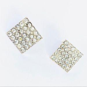 New! Sparkling Rhinestones Square Stud Earrings